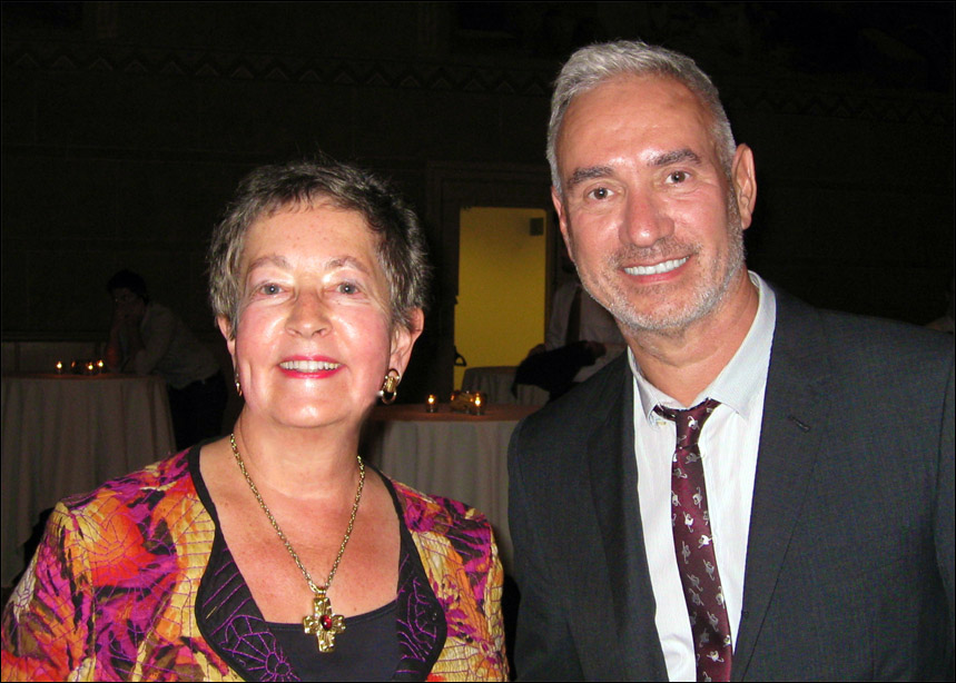 Sally Mosher and Roland Emmerich after they received Vero Nihil Verius awards at Concordia University